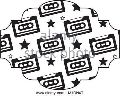 400x320 Label Pattern Cassette Tape Recorder Vector Illustration Color