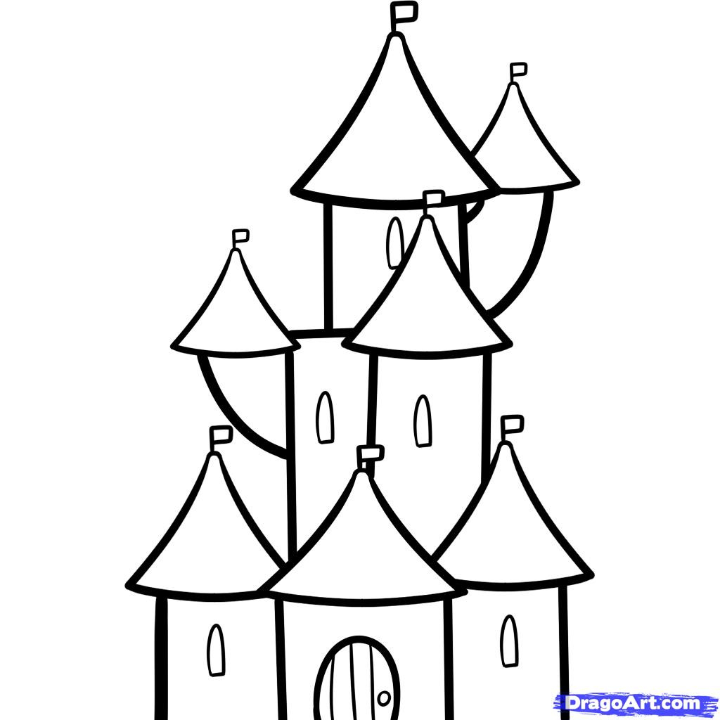 1024x1024 Cartoon Castle Drawing How To Draw A For Kids Stepstep