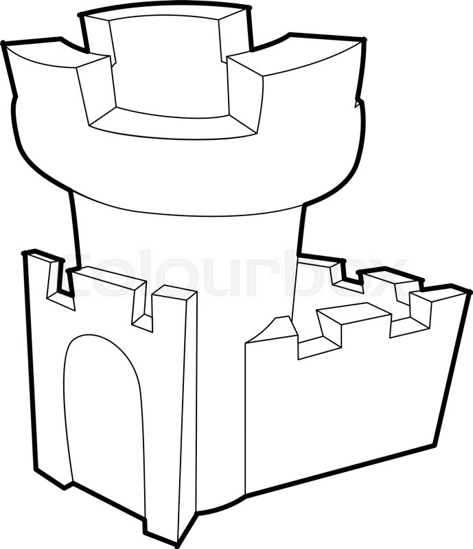 689x800 Castle Tower Icon Outline Illustration Of Vector