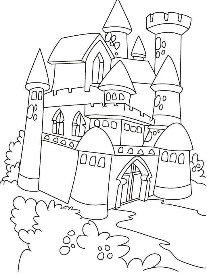 Castle Drawing Outline At Getdrawingscom Free For Personal Use - Castle-coloring-pages-to-print