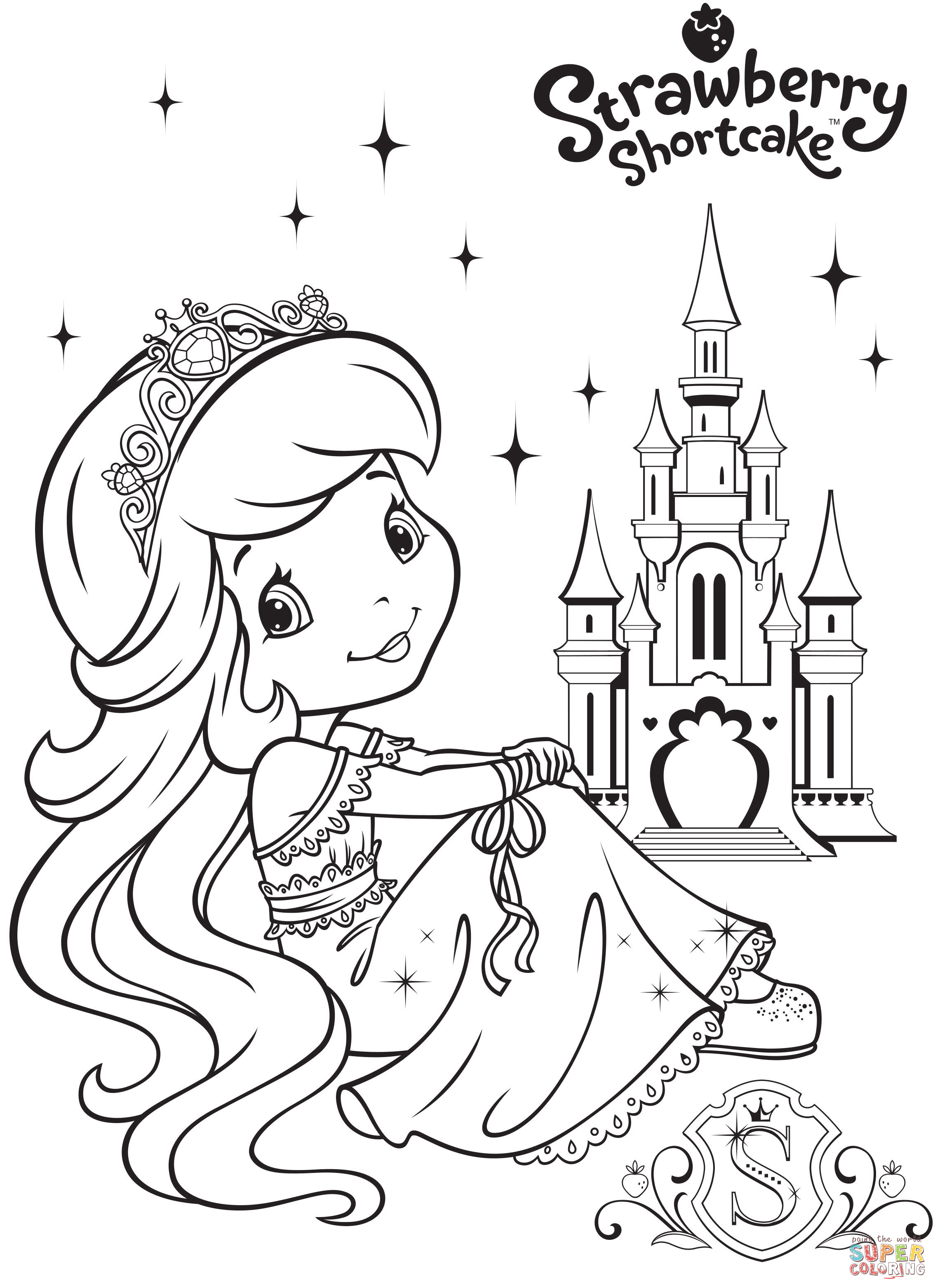 2268x3123 Strawberry Shortcake And Strawberry Castle Coloring Page Free