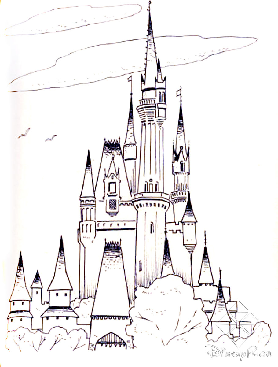 910x1200 Disney World Castle Sketch Walt Disney World Cinderella'S