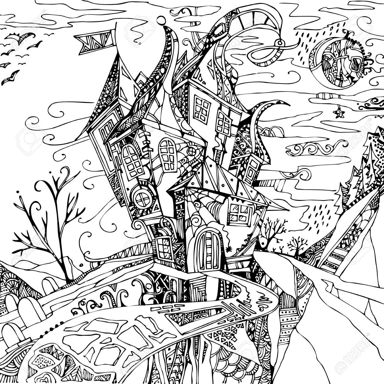 1300x1300 Hand Drawn Fantasy Castle. Black Illustration On White Background