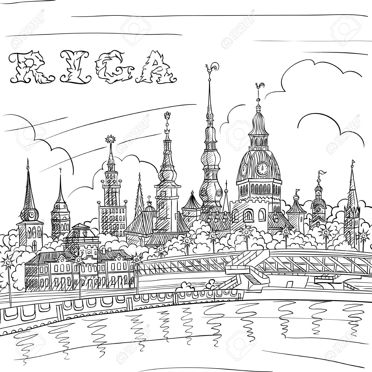 1300x1300 Vector Black And White Hand Drawing, Sketch Of Old Town And River