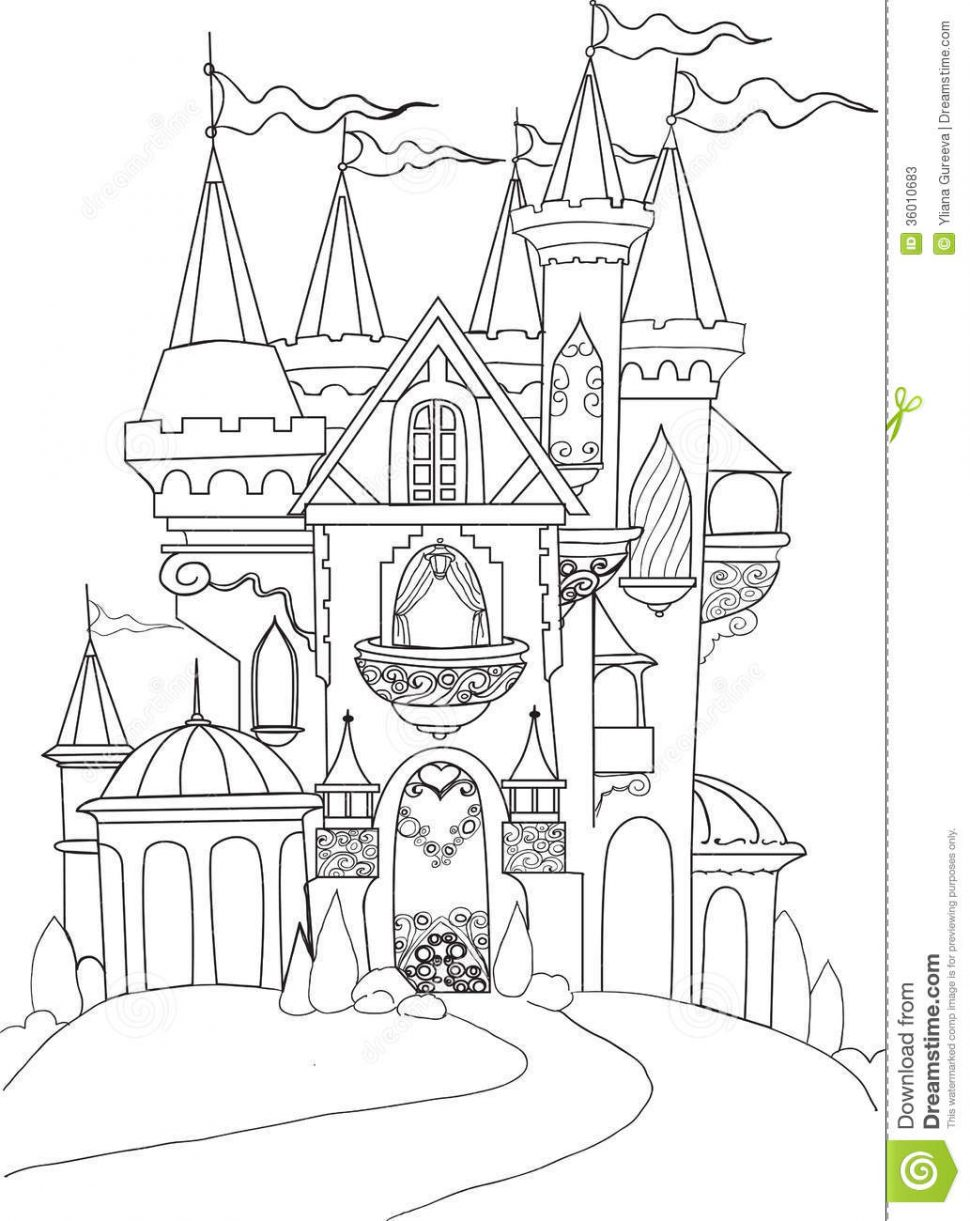 970x1221 Coloring Splendi Castle Coloring Book Drawn Palace Fairytale