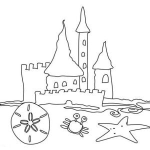 300x300 Beach Vacation, Simple Drawing Of Beach Castle Coloring Page