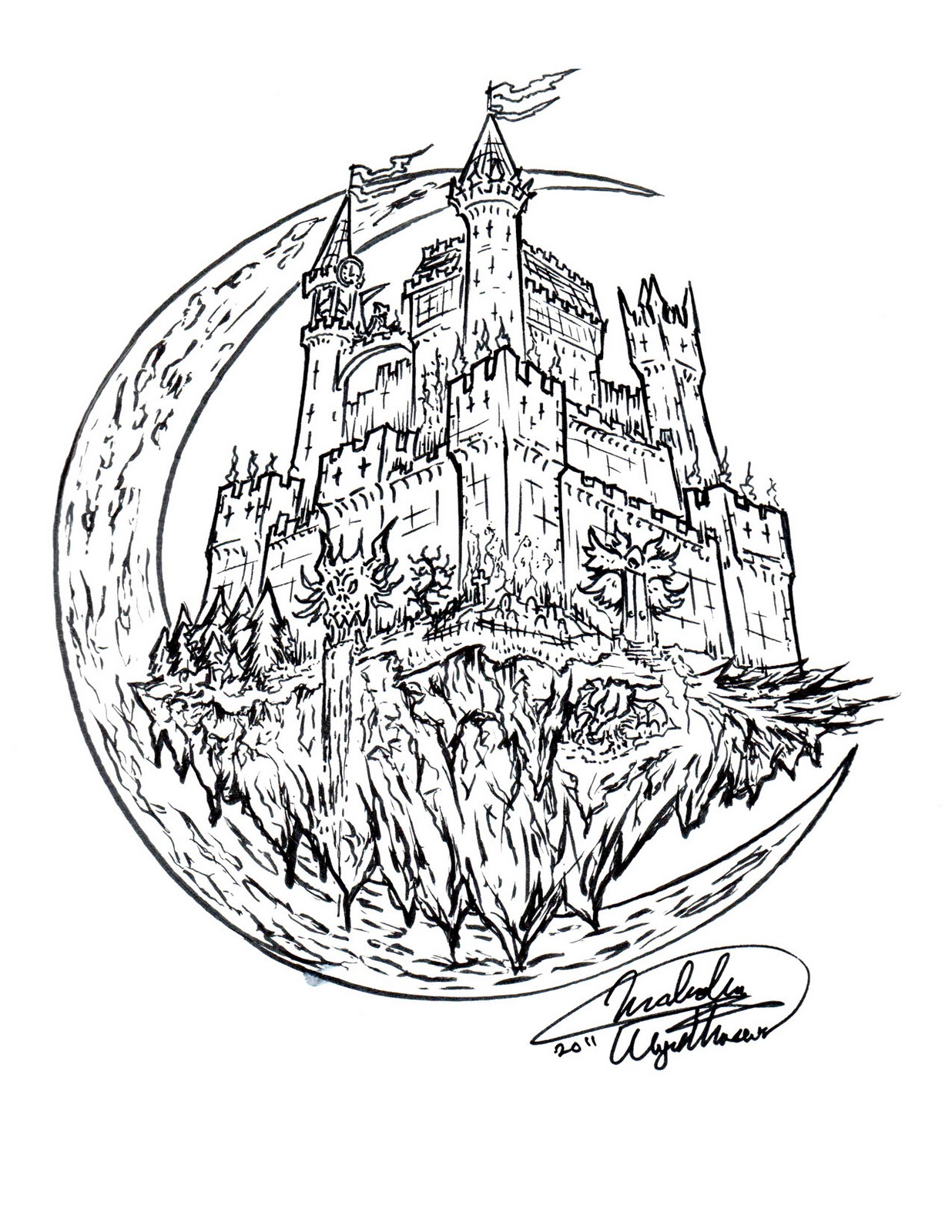 1236x1600 Malcolm's Art165 Blog Draw A Haunted House!