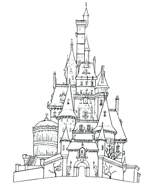 567x728 Simple Castle Coloring Pages Free Download
