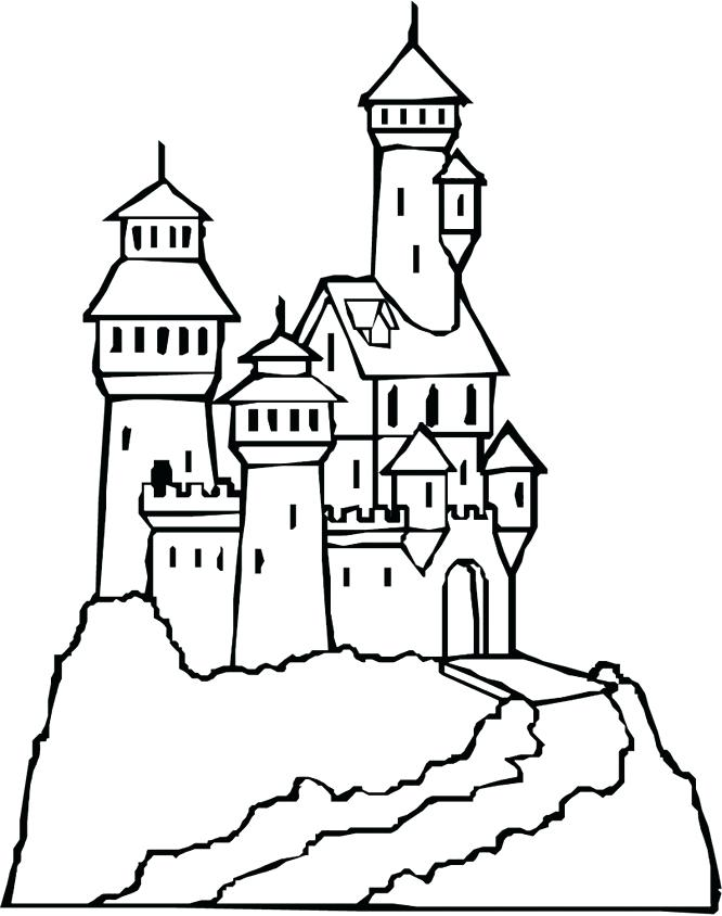 666x844 Simple Castle Coloring Pages Free Download Fascinating
