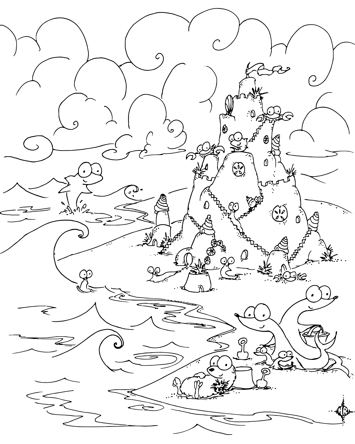 1447x1810 Coloring Page Sea Creatures Building A Sand Castle On The Beach