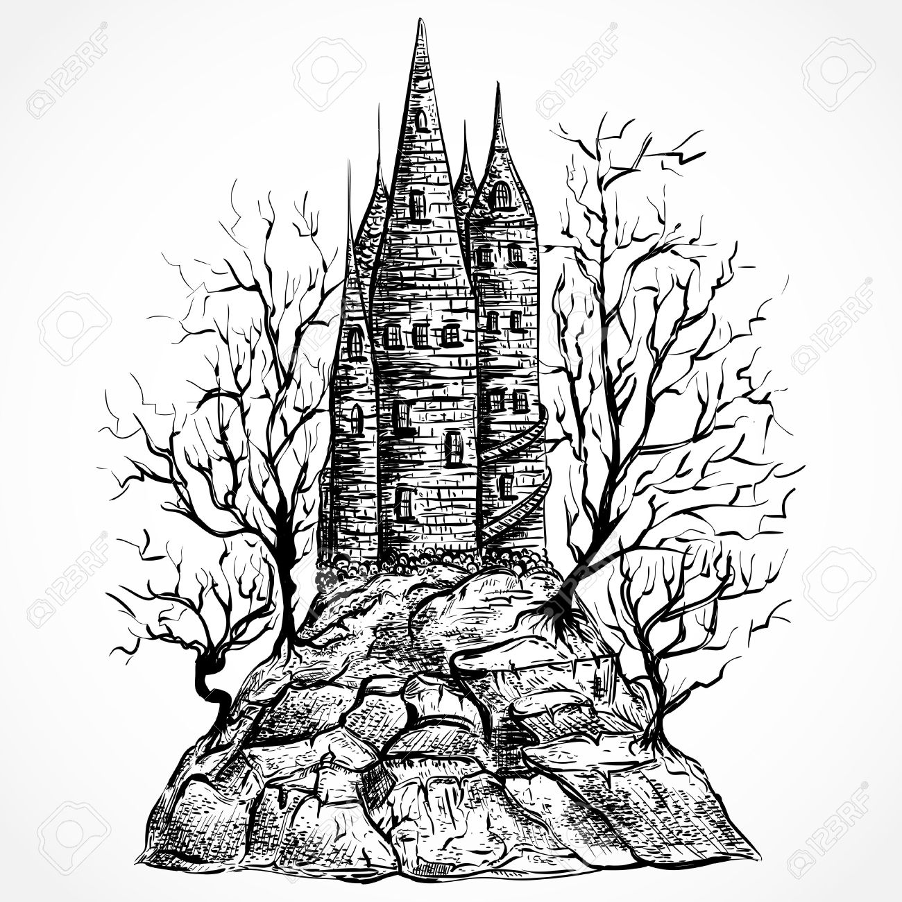 Castle Tower Drawing At Getdrawings Com Free For
