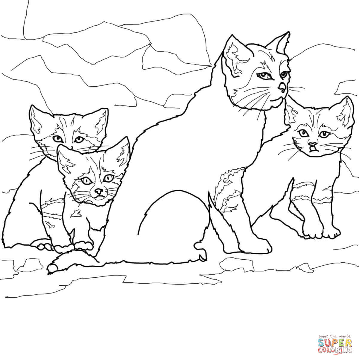 Cat And Kitten Drawing at GetDrawings.com | Free for personal use ...