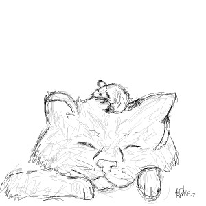 300x300 Sleepy Cat And Mouse By 0unja