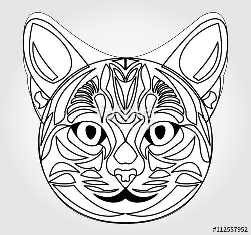 500x468 Cat Head Drawing. Symbol Of Sun God. Egyptian Mythology Symbol