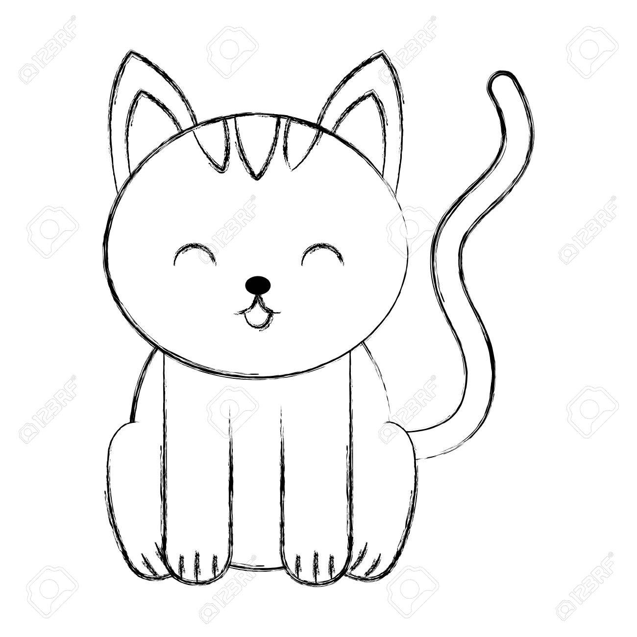 1300x1300 Cute Sketch Draw Cat Cartoon Graphic Design Royalty Free Cliparts