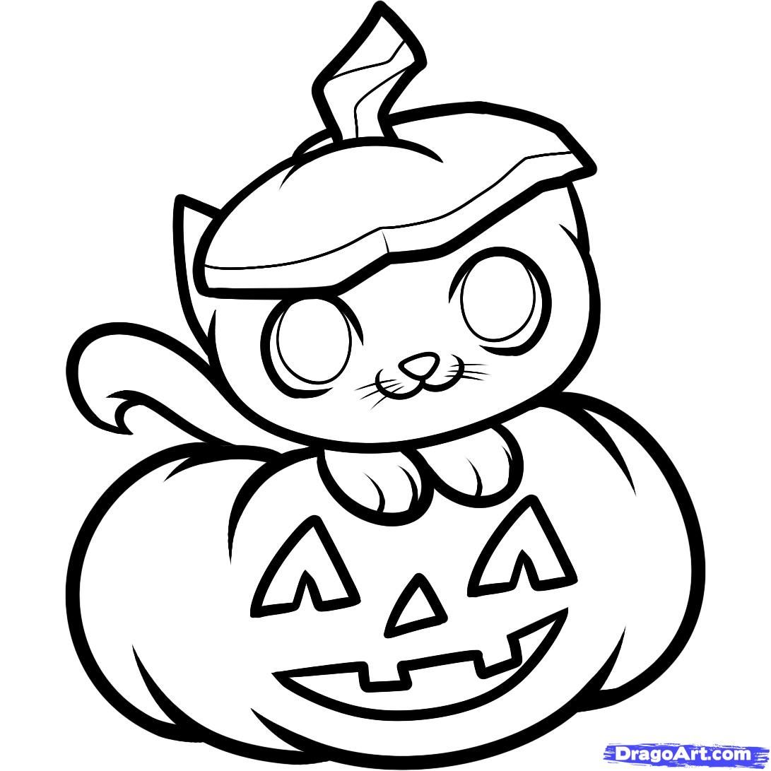 1091x1091 Drawing Cute Halloween Cat Drawings In Conjunction With Cute