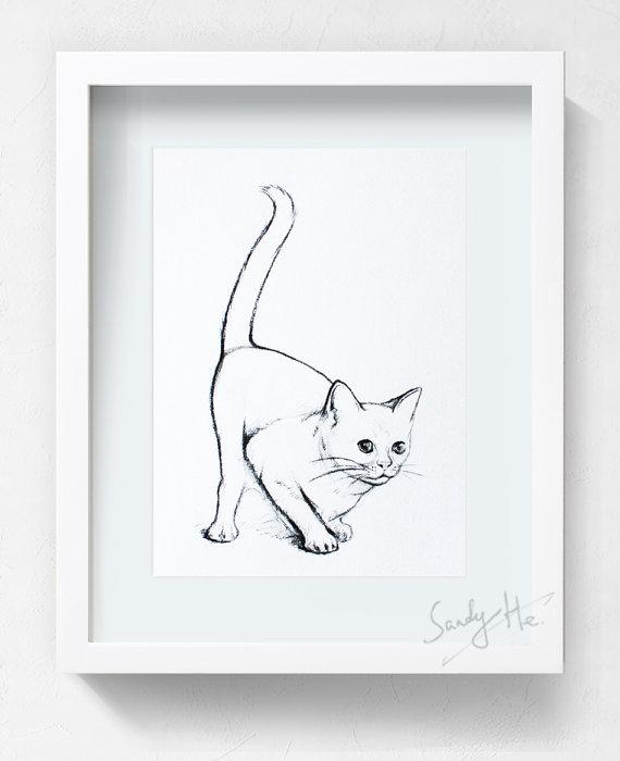 570x700 Items Similar To Cat Drawing Movement Animal Cat Original Charcoal