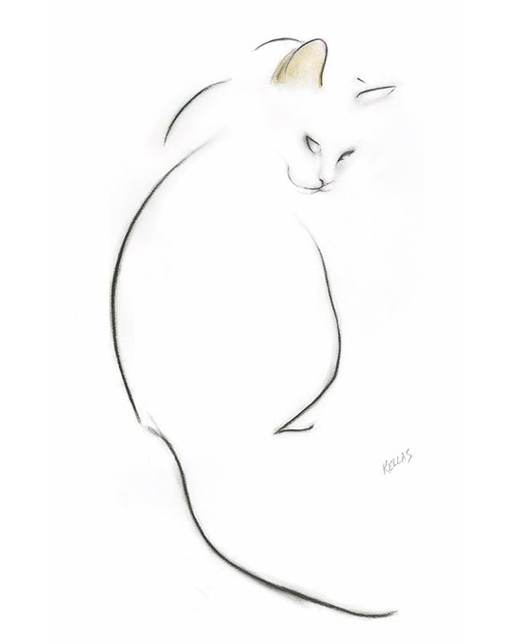 576x720 Cat Looking Back Tattoo Flash Art Kellas Campbell Art