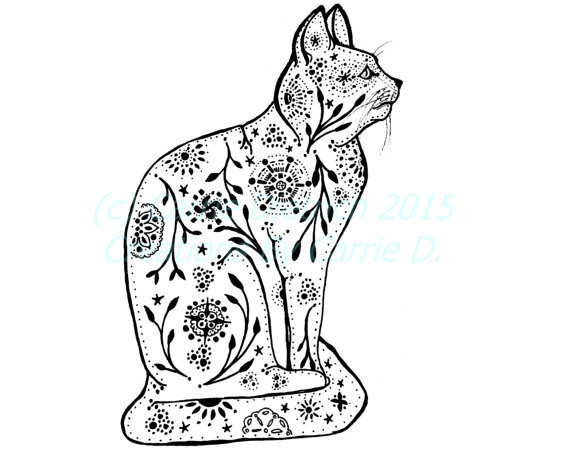 570x456 Cat Art Cat Drawing Pen and Ink Art Black and White Art