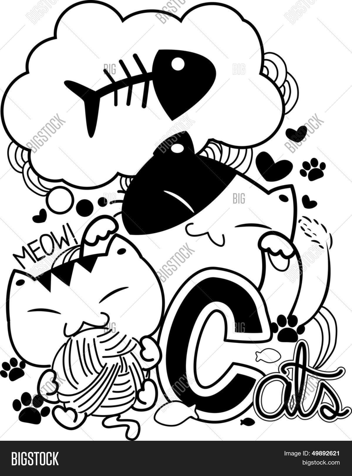 1199x1620 Black White Doodle Illustration Vector Amp Photo Bigstock