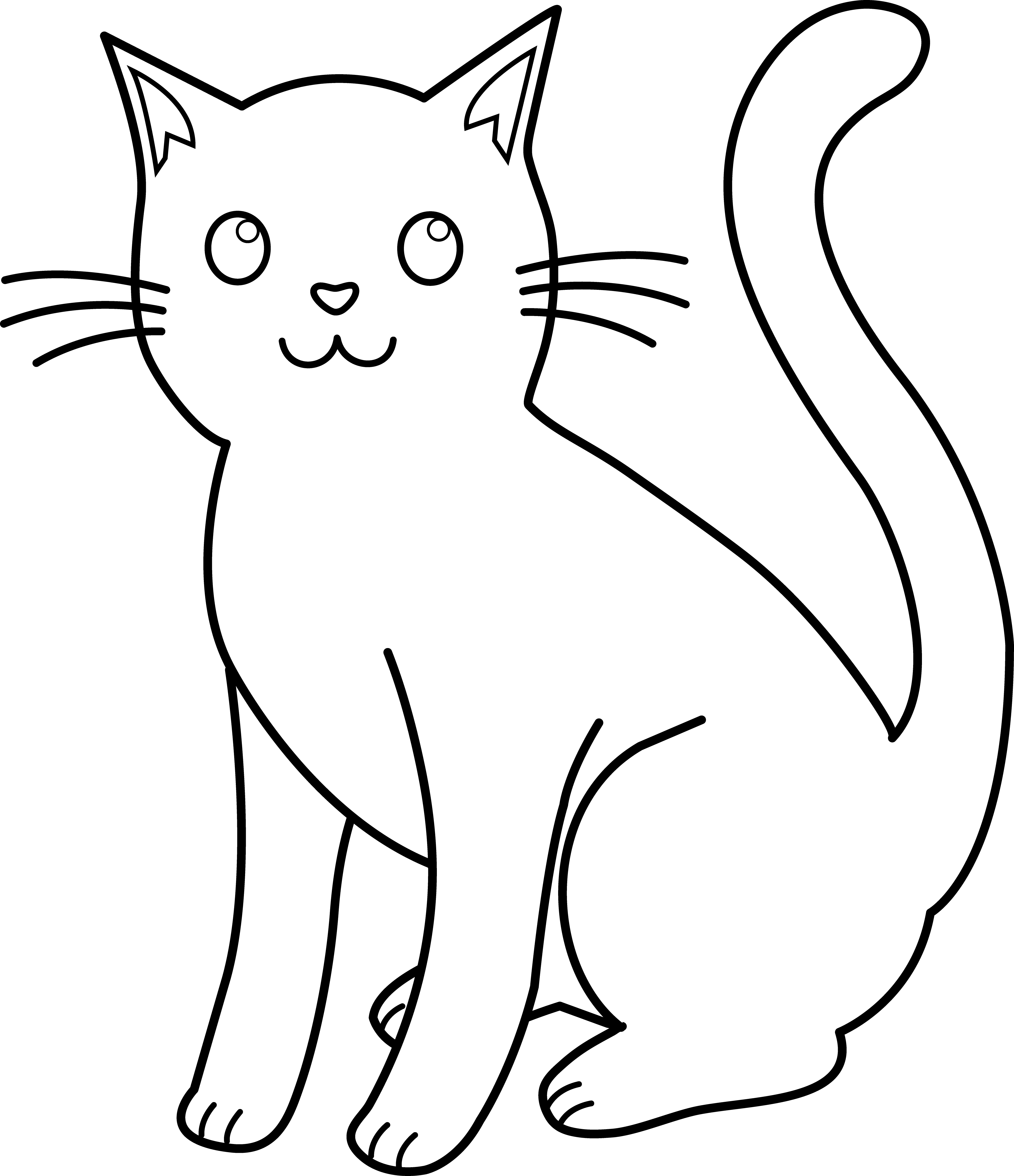 4373x5072 Black And White Cat Lineart