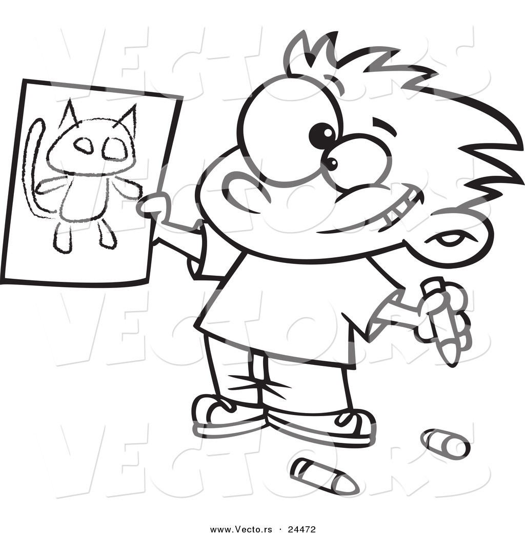 1024x1044 Vector Of A Cartoon Proud Boy Holding His Cat Drawing