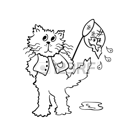 450x450 Cats Looking For Fish. Outlined Cartoon Drawing Sketch