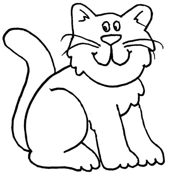 600x600 cartoon cat coloring pages a cartoon drawing of funny kitty cat