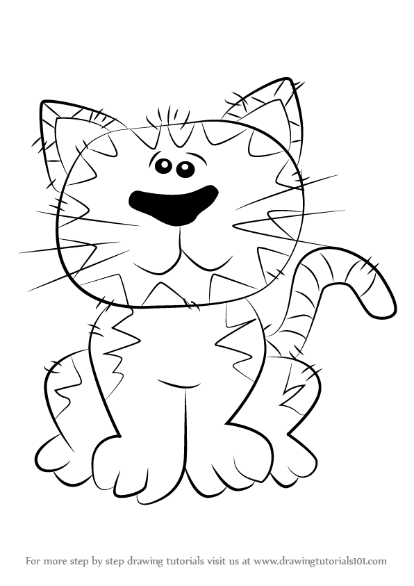 596x843 Learn How To Draw A Cat For Kids (Cats) Step By Step Drawing