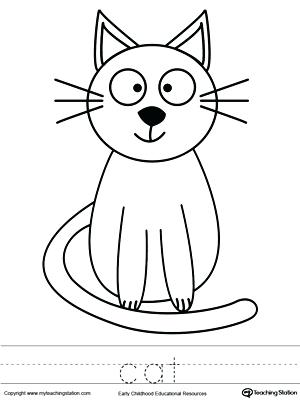 300x400 Cat Color Page Cat Coloring Page And Word Tracing Hello Kitty