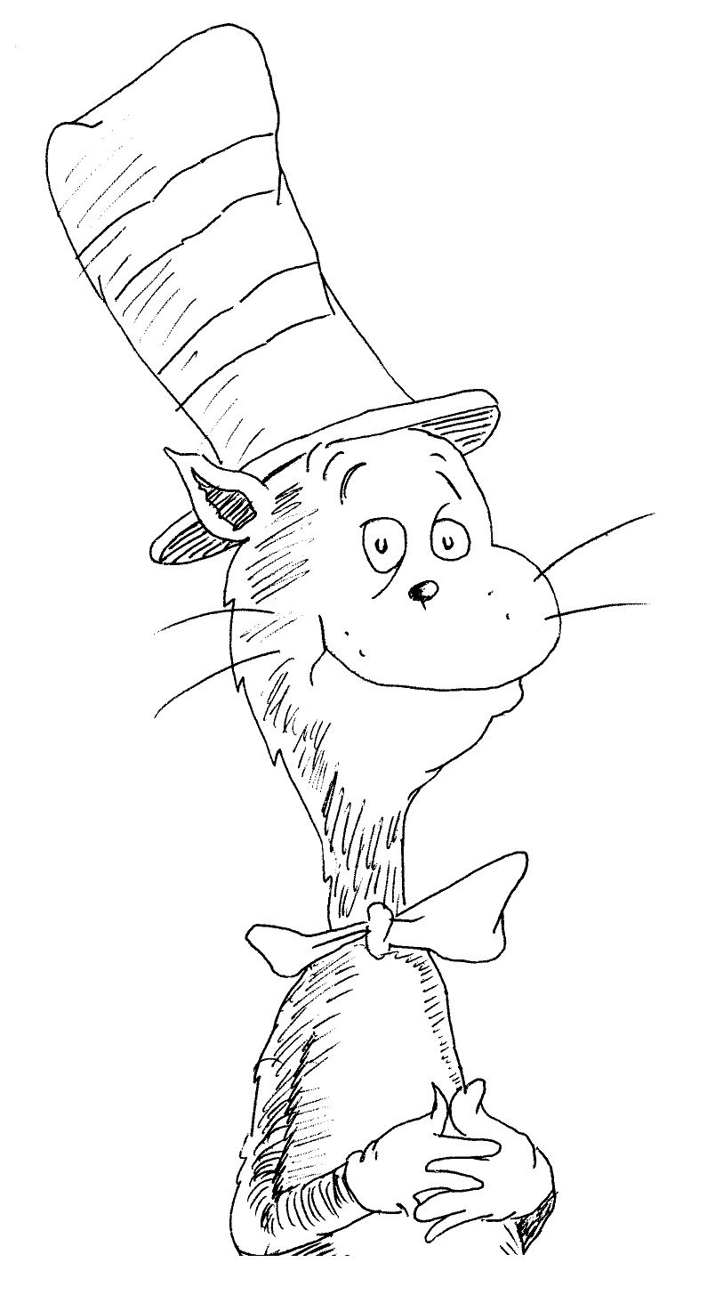 804x1464 Cat In The Hat Coloring Pages To Print 01 Dr. Seuss