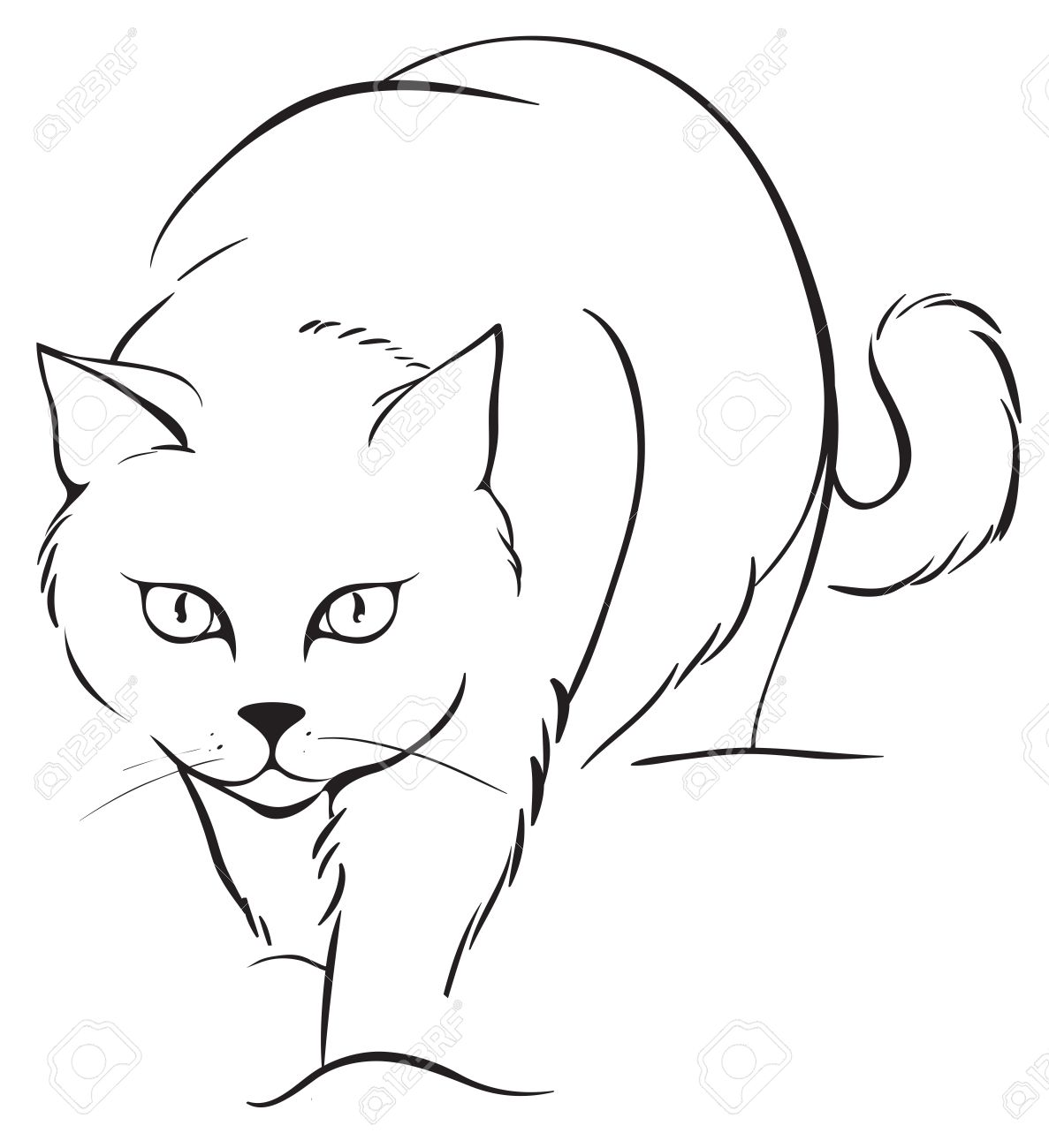 1187x1300 Outline Cat Royalty Free Cliparts, Vectors, And Stock Illustration