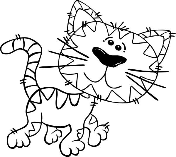 600x536 Cartoon Cat Walking Outline Clip Art Free Vector In Open Office