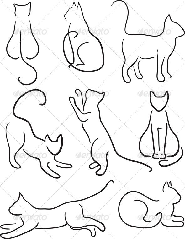 590x765 Silhouette Of Cats Cat Silhouette, Design Set And Cat Cat