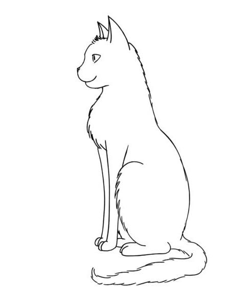 450x600 Cat Sitting Outline By Gedankenfrei25