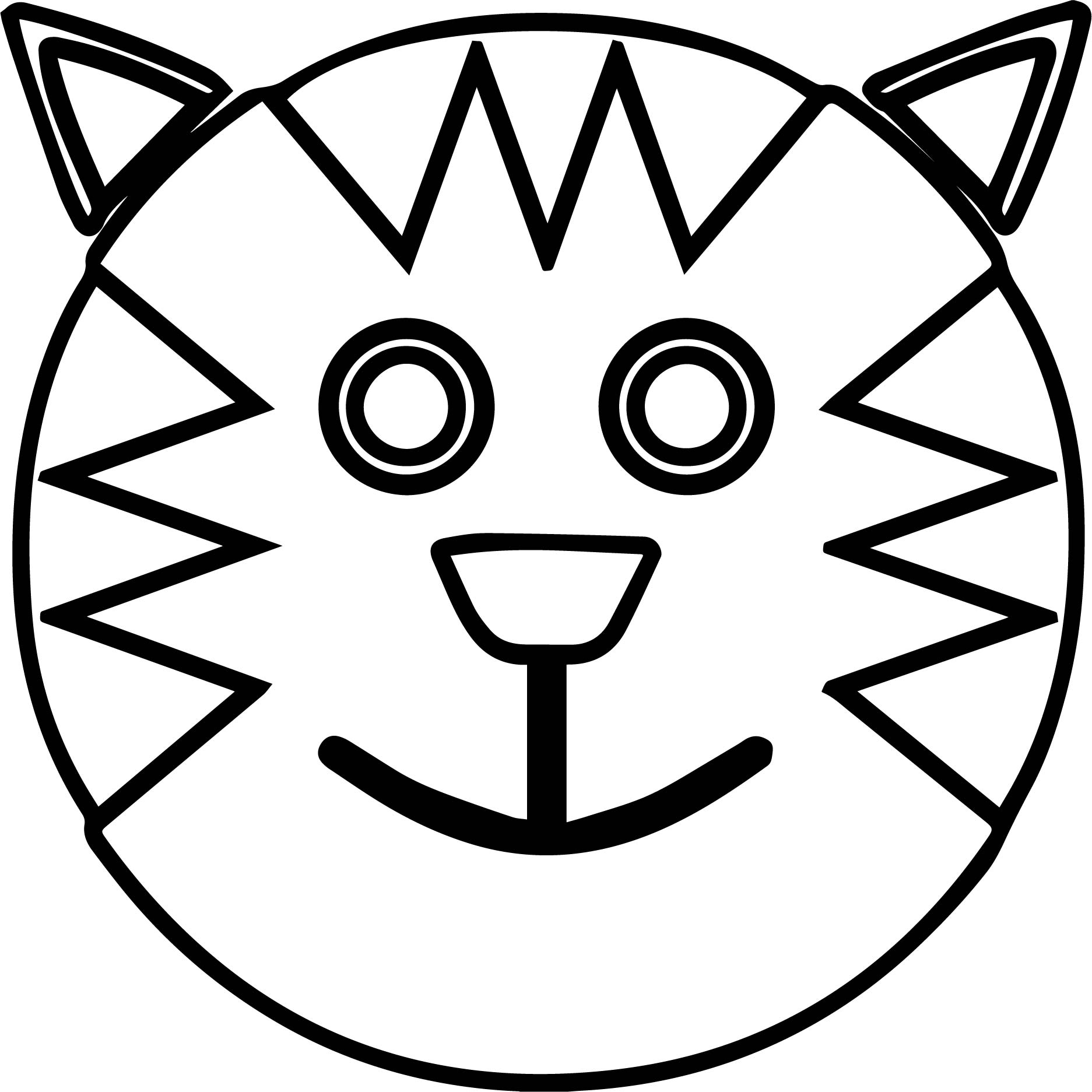 1873x1873 Cartoon Smiley Face Outline Cat Coloring Page Wecoloringpage