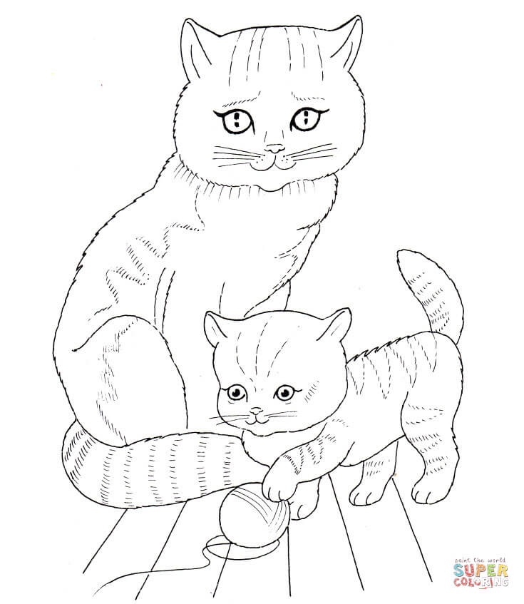 735x847 Cat Mother And Kitten Coloring Page Free Printable Coloring Pages