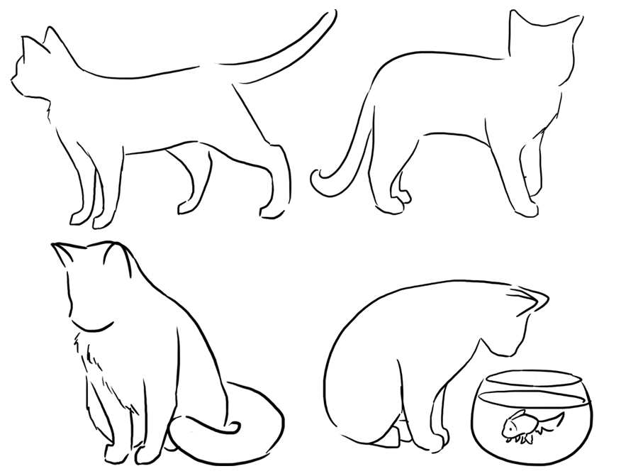 876x671 Four Cat Poses By Drunkontea On Art