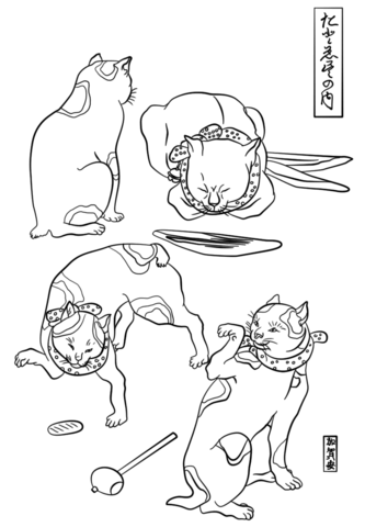 333x480 Four Cats In Different Poses By Utagawa Kuniyoshi Coloring Page