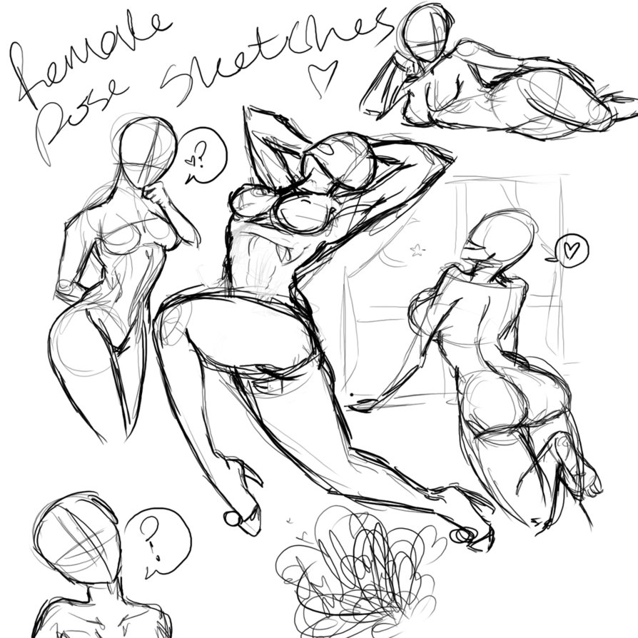 894x894 Some Female Poses ~sketches By Catthing