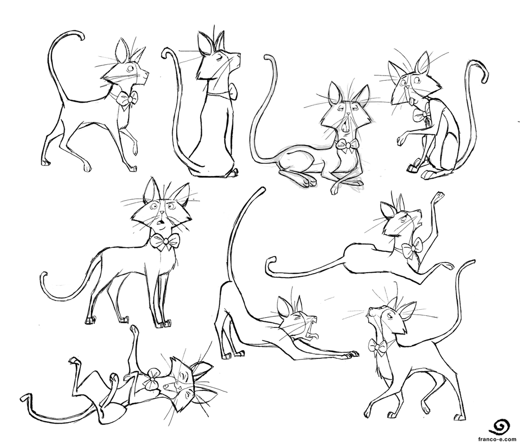 1024x878 Bowtie Cat Poses By Chillyfranco On Draws