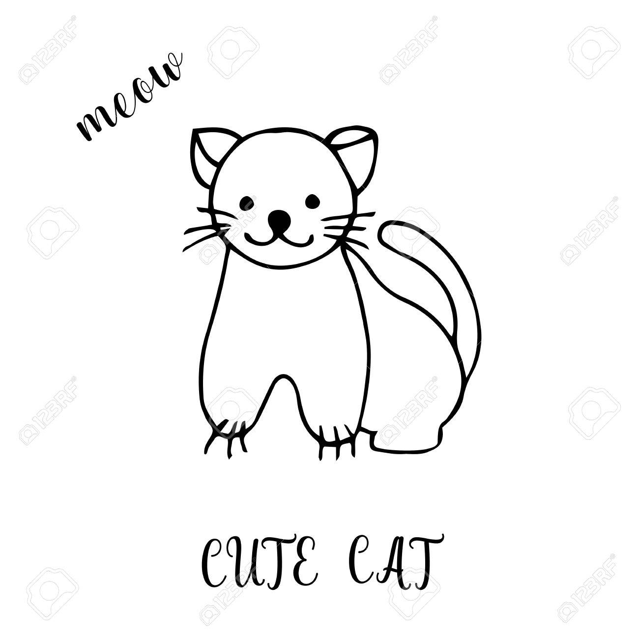 1300x1300 Childrens Drawing A Cute Cat. The Template For The Painting