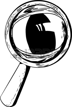 304x450 Outlined Cartoon Magnifying Glass With Large Cat Eye Royalty Free