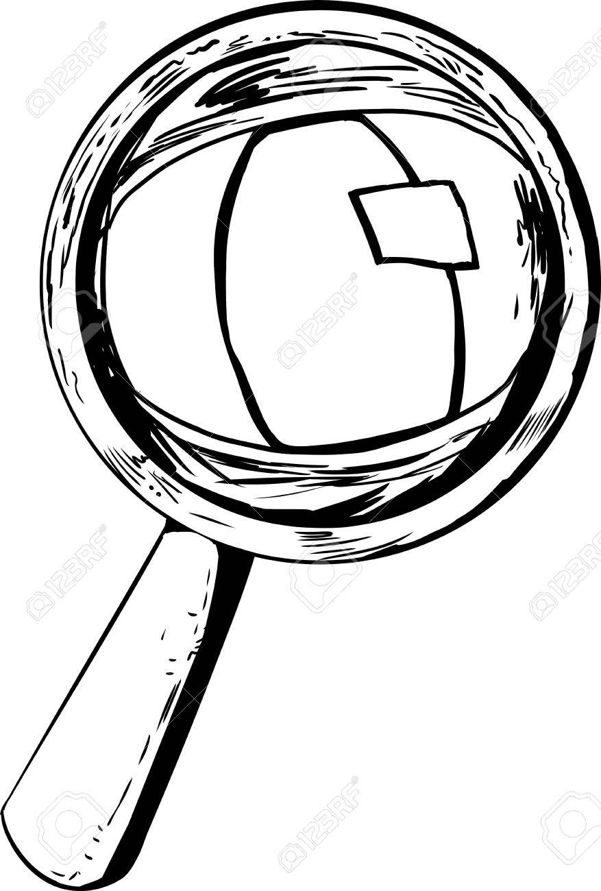877x1300 Cat Eye Looking Through Magnifying Glass In Cartoon Outline
