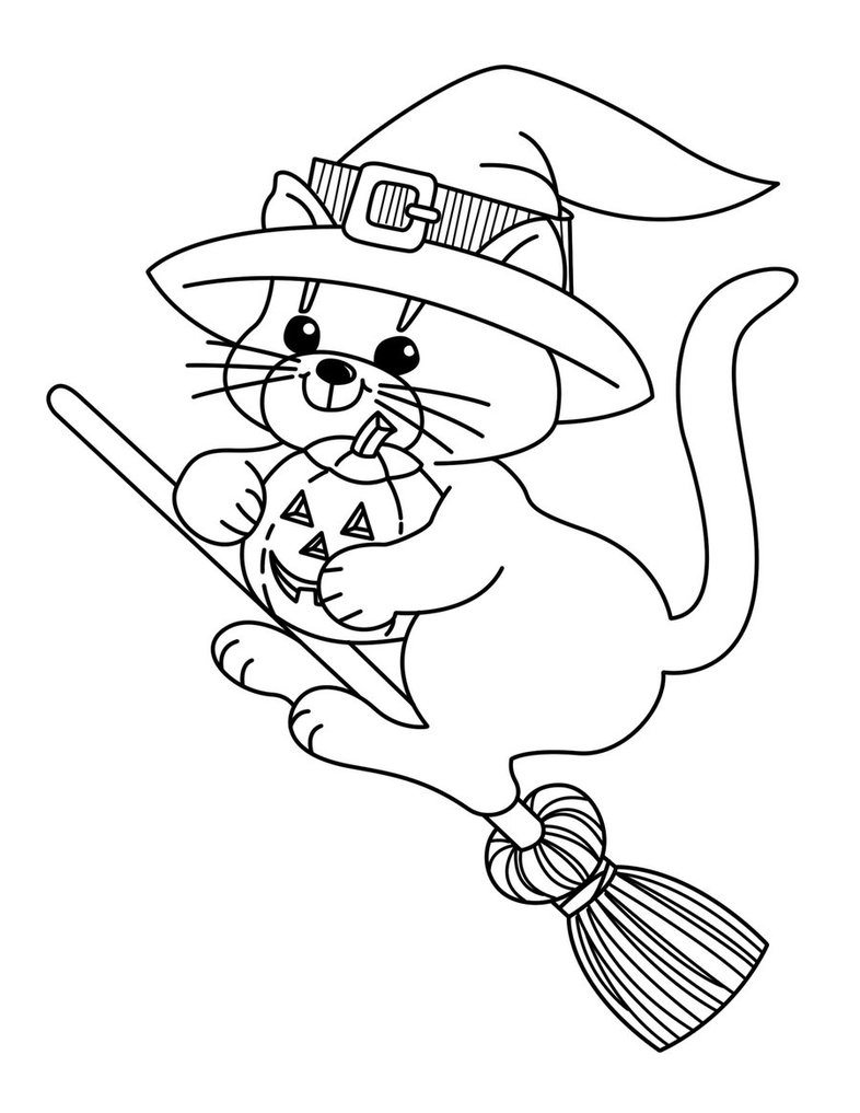 cat face coloring page - cat face drawing for halloween at free