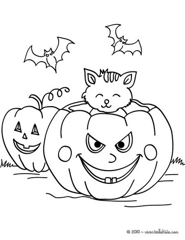 363x470 pumpkin with bats and cats coloring pages - Halloween Black Cat Coloring Pages