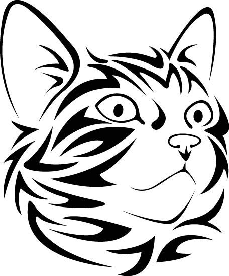 456x548 Tribal Cat Face Looking Right Vinyl Decal Vinyl