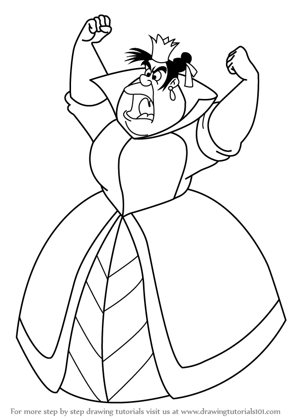 596x843 Learn How To Draw Queen Of Hearts From Alice In Wonderland (Alice