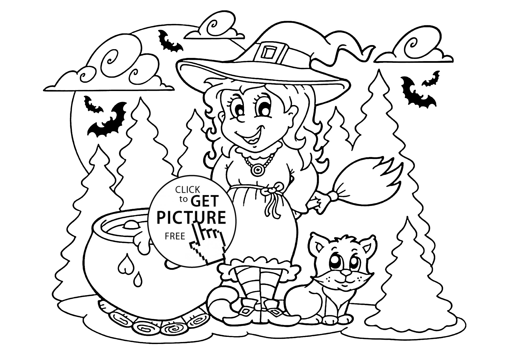 2079x1483 Coloring Pages For Witches Copy Halloween Witch And Cat