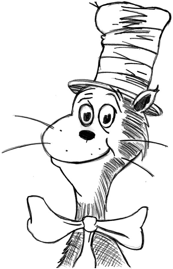 600x930 Drawing Dr Seuss The Cat In Hat Coloring Page Color Luna